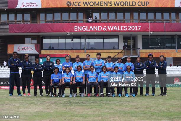 Indian team players and support staff pose for a group picture prior to The ICC Women's World Cup 2017 SemiFinal between Australia and India at The...