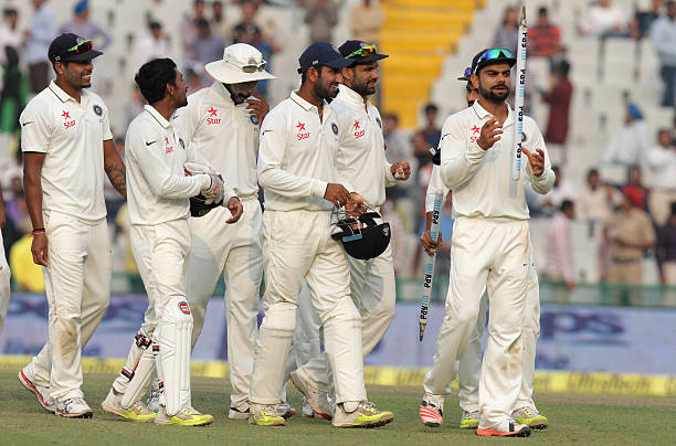 Indian team players celebrating victory against South Africa during the third day of first Test match been played at PCA Stadium on November 7 2015...
