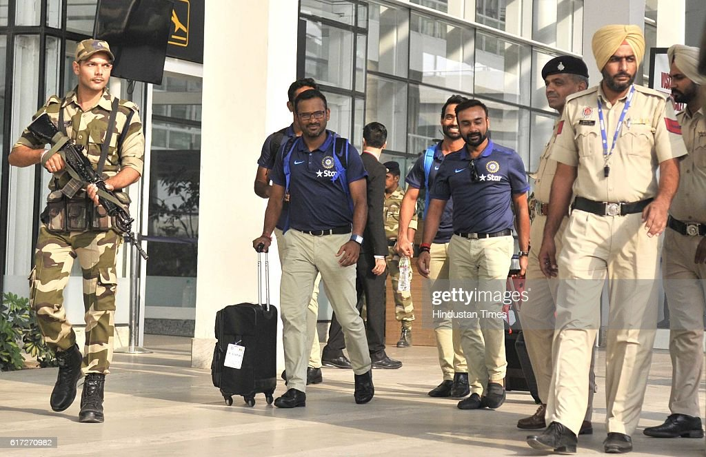 Indian team players come out during the team arrival for 3rd ODI at PCA Mohali at Chandigarh Airport on October 21 in Chandigarh India