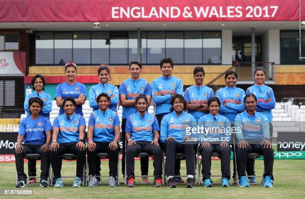Indian team players pose for a group picture prior to The ICC Women's World Cup 2017 SemiFinal between Australia and India at The County Ground on...
