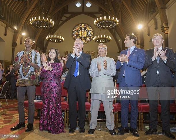 Indian teen environmental activist Kehkashan Basu applauds during the International Children's Peace Prize 2016 at the Ridderzaal in The Hague The...