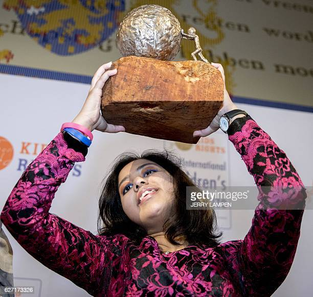 Indian teen environmental activist Kehkashan Basu receives the International Children's Peace Prize 2016 at the Ridderzaal in The Hague The...