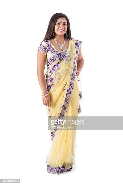 Indian teenage grl wearing beautiful sari gown