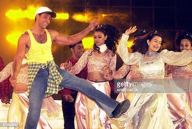 Indian teenage heart throb and latest acting sensation Hrithik Roshan along with Bollywood actress Amisha Patel dance to the tune of a song from one...