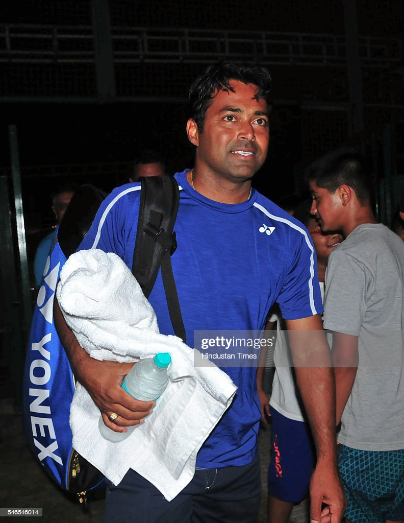 Indian Tennis Leander Paes on his arrival at Chandigarh Club ahead of IndiaSouth Korea Davis Cup tie to be played from July 15 to 17 at Chandigarh...