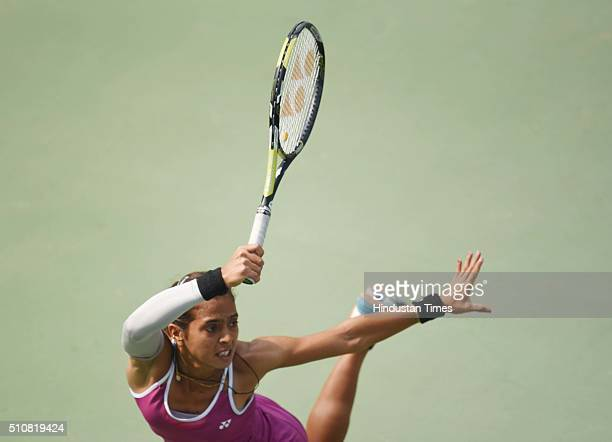 Indian tennis player Ankita Raina in action against Russian tennis player Marina Melnikova during Delhi Open 2016 tournament at DLTA Complex on...