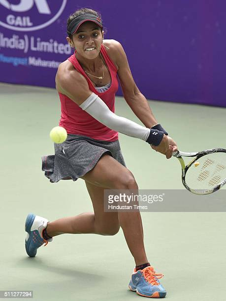 Indian Tennis player Ankita Raina in action against Uzbekistani Tennis player Sabina Sharipova during the Delhi Open 2016 at DLTA on February 19 2016...