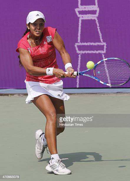 Indian tennis player Ankita Raina in action against Yulia Beygelzimer from Ukraine during the Delhi Open ITF Women's Tennis Tournament at DLTA on...