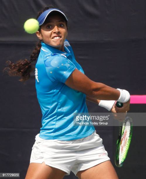 Indian Tennis player Ankita Raina playing against HKG player Ling Zhang at R K Khanna stadium Fed 2018 in New Delhi