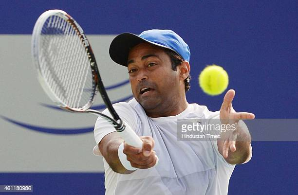 Indian tennis player Leander Paes having a practices session during ATP Chennai open at SDAT Stadium on January 8 2015 in Chennai India