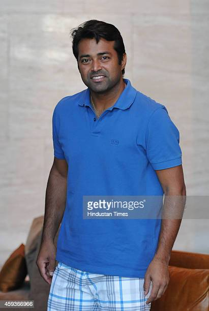 Indian Tennis player Leander Paes poses for a picture on November 21 2014 in Chandigarh India
