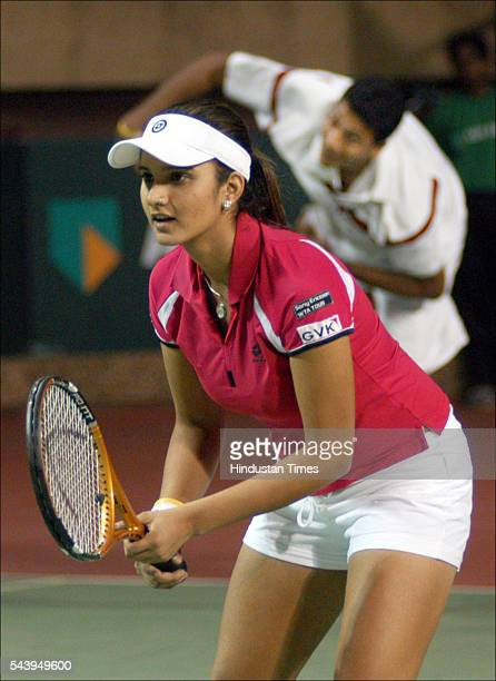 Indian tennis player Sania Mirza in action during an exhibition match against Rajicek and Michaella in ABN AMRO Tennis Challenge at DLTA on April 12...
