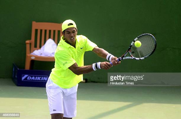 Indian Tennis player Somdev Devvarman playing a shot against Mohamed Safwat of Egypt in the first round of the ATP Challenger Tour on February 10,...
