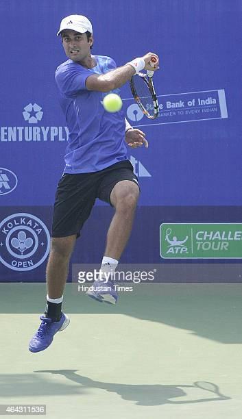 Indian tennis player Yuki Bhambri in action against Lopez Perez in Kolkata Open 2015 ATP Challenger Tour on February 24, 2015 in Kolkata, India.
