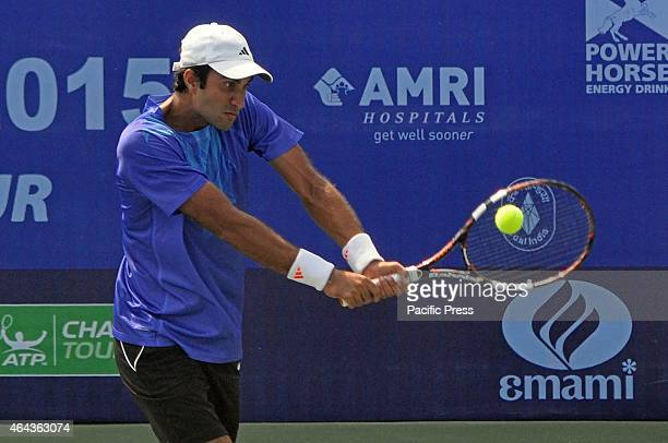 Indian tennis player, Yuki Bhambri in action against Spanish Tennis Player Enrique Lopez-Perez during the Emami Kolkata Open 2015 - ATP Challenger...
