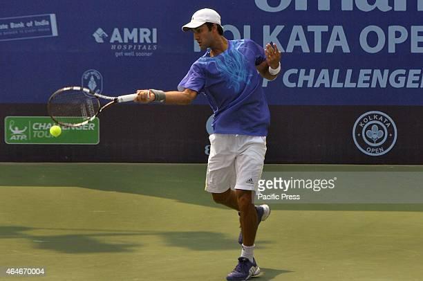 Indian tennis player Yuki Bhambri in action during the Emami Kolkata Open 2015 - ATP Challenger Tour.