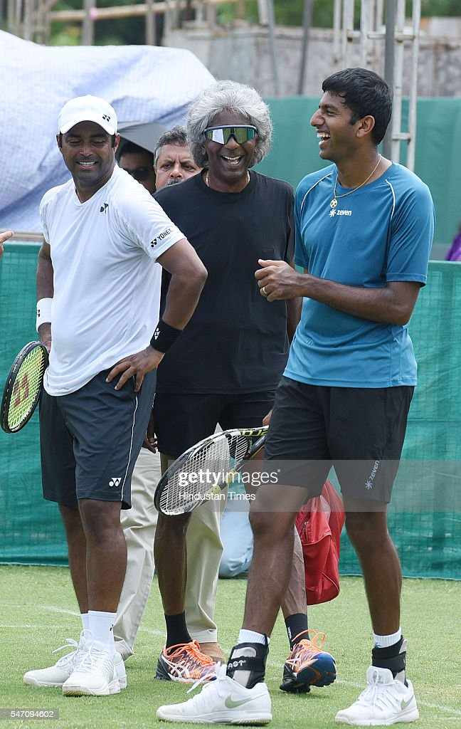 Indian Tennis players Leander Paes Anand Amritraj and Rohan Bopanna during a practice session ahead of IndiaSouth Korea Davis Cup tie to be played...