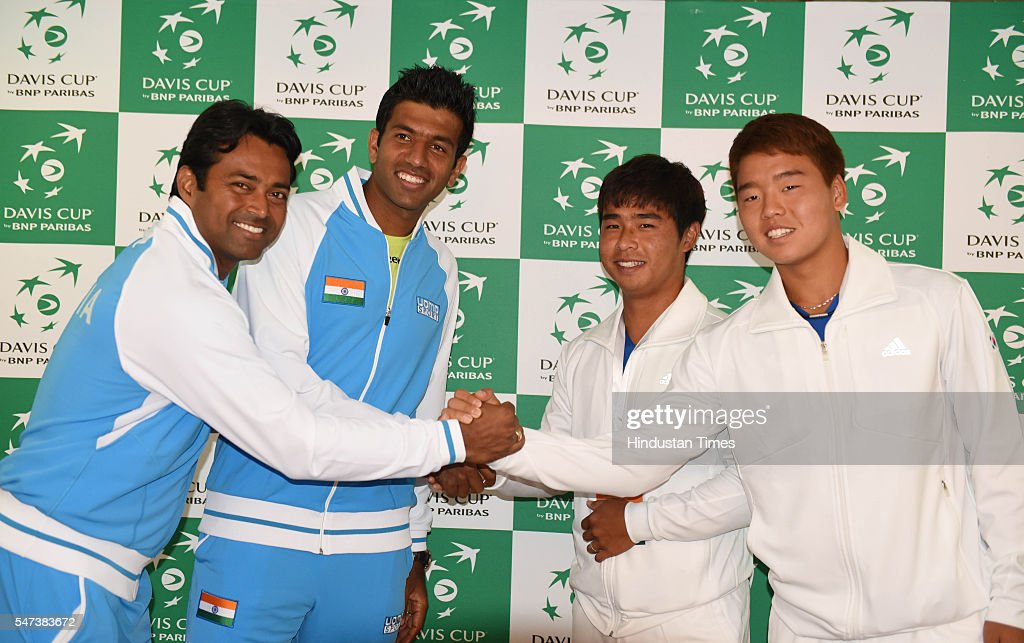 Indian Tennis players Rohan Bopanna and Leander Paes meeting Korea players Hong Chung and Yungseon Chung after the draw ceremony of Davis Cup between.