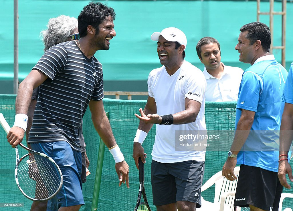 Indian Tennis players Saketh Myneni Leander Paes and Coach Zeeshan Ali during a practice session ahead of IndiaSouth Korea Davis Cup tie to be played.