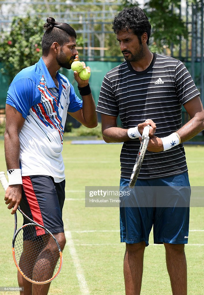 Indian Tennis players Vishnu Vardhan and Saketh Myneni during a practice session ahead of IndiaSouth Korea Davis Cup tie to be played from July 15 to.