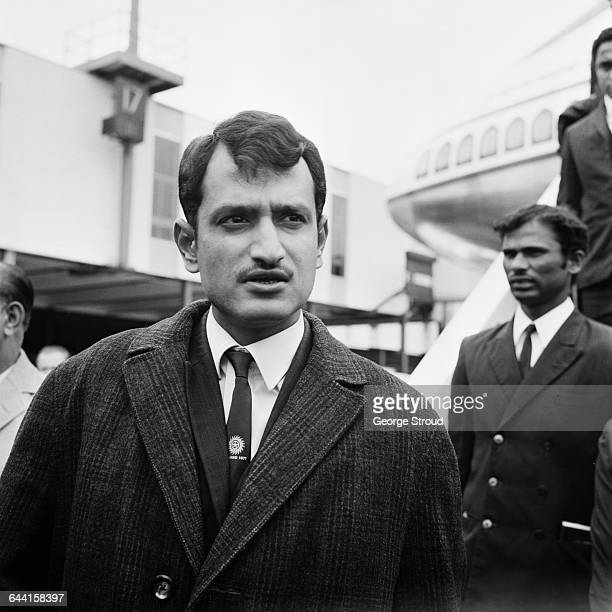 Indian test cricketers arriving at London Airport for the start of their tour pictured is team captain Ajit Wadekar UK 18th June 1971