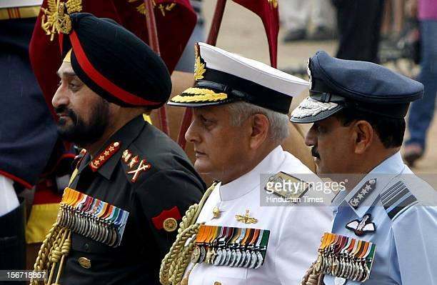 NEW DELHI INDIA JULY 26 Indian three Service Chiefs Gen Bikram Singh Admiral Nirmal Kumar Verma and Air Chief Marshal Norman Anil Kumar Browne at...