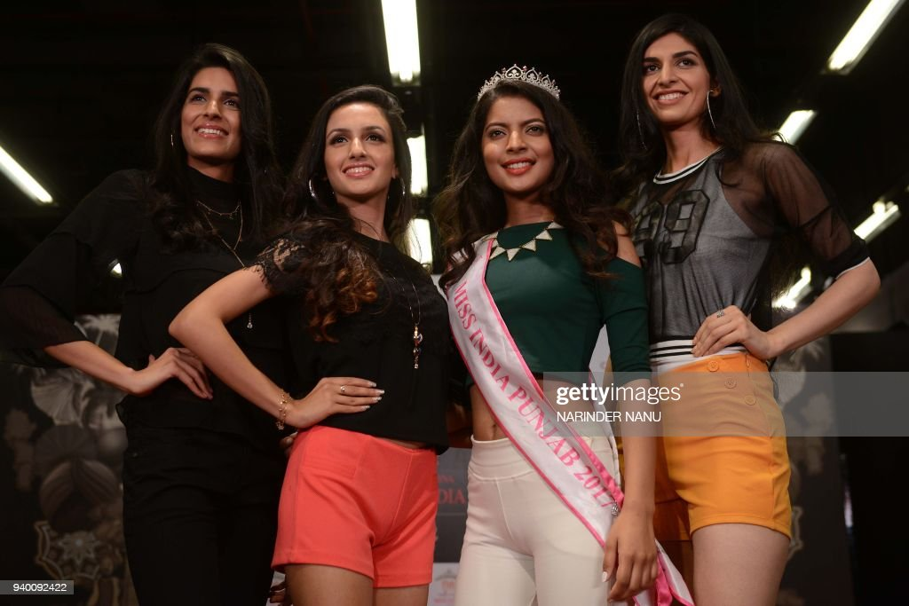 Indian top three models selected from Punjab along with FBB Colors Femina Miss India Punjab 2017 Navpreet Kaur pose during FBB Colors Femina Miss...