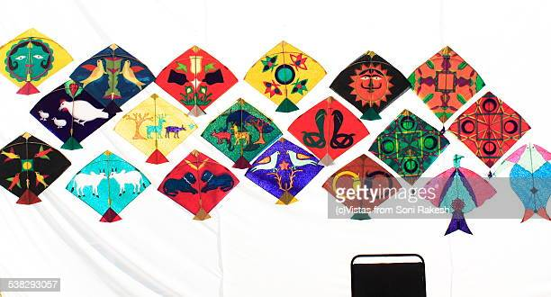 indian traditional motifs and design on kites - indore stock photos and pictures