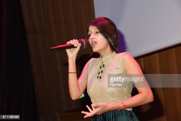 """Indian traditionel singer Avani Jain performs during the """"Paris Appreciation Awards 2017"""" At The Eiffel Tower on July 8, 2017 in Paris, France."""