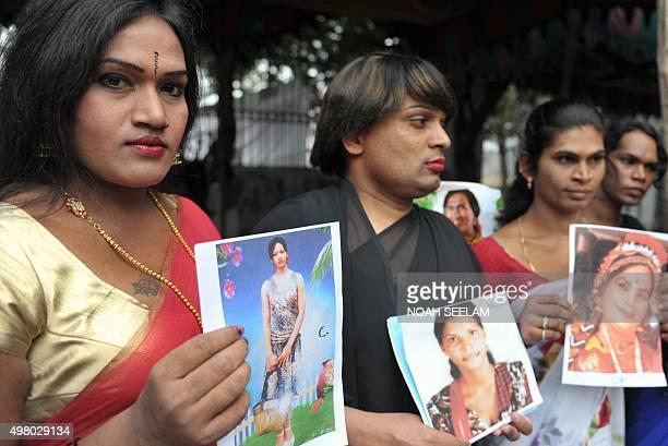 Indian transgender activists hold a vigil to mark the 'Transgender Day of Remembrance' in Hyderabad on November 20 2015 The Transgender Day of...