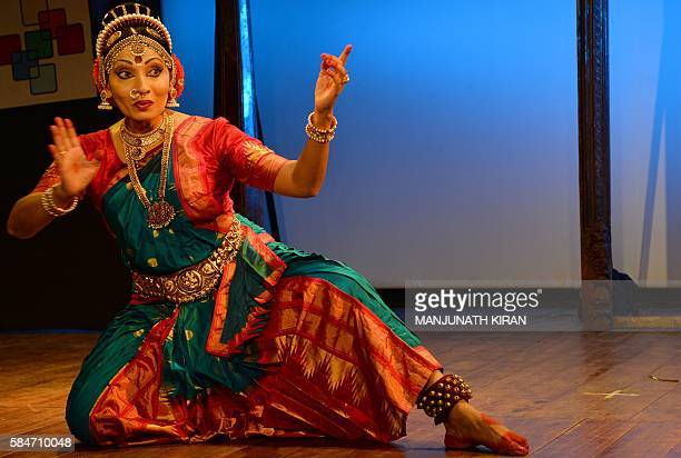 Indian transgender Kuchipudi dance form artist Varsha Anthony who lives in Malaysia gives a performance during 'Expression Beyond Gender' the...