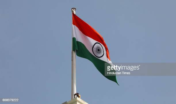 Indian Tricolor flag during the 67th Independence day celebration at Mantralaya in Mumbai, India, on Thursday, Aug. 15, 2013.