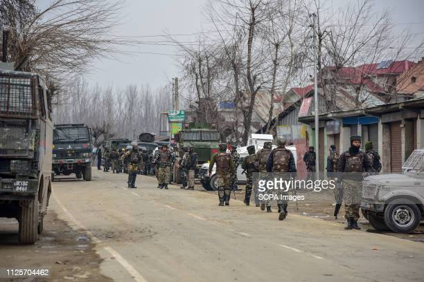 Indian troopers are seen patrolling near the site of encounter during the gun fight at Pinglena village Three militants four Indian army men a police...