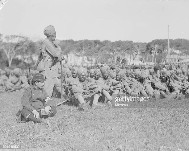 Indian troops of the The 15th Ludhiana Sikhs regiment part of the 3rd Indian Division seen here at their rest camp on the race course at Maerseilles...