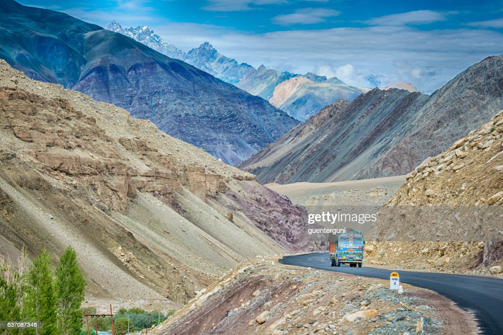 Indian truck on the Srinagar-Leh highway in Ladakh, India : Stock Photo