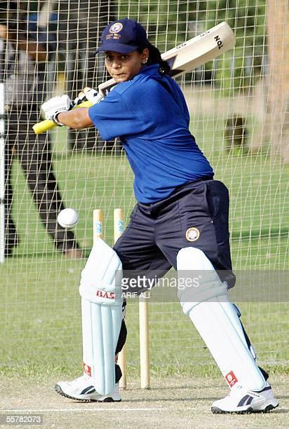 Indian under21 women's cricket team captain Karuna Jain Venkatachar plays a shot during net practice in Lahore 27 September 2005 Venkatachar said...