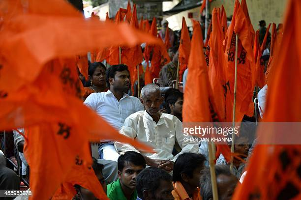 Indian United Hindu Front activists participate in a protest against the alleged 'Love Jihad' movement in New Delhi on September 23 2014 'Love jihad'...