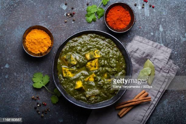 indian vegetarian dish palak paneer - garam masala stock photos and pictures