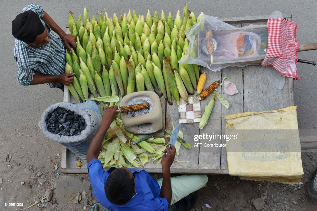 Indian vendor Balwant grills and sell corn cobs on a cart along a roadside in Amritsar on September 12 2017 / AFP PHOTO / NARINDER NANU