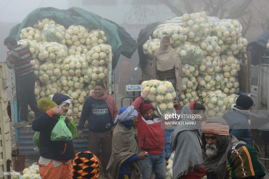 Indian vendors sell cauliflowers at a wholesale vegetable market on the outskirts of Amritsar on January 3 2018 / AFP PHOTO / NARINDER NANU