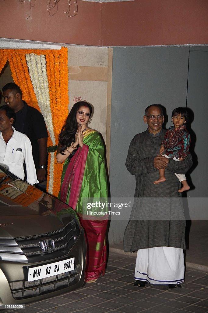 Indian veteran actress Rekha during Vidya Balan's mehndi ceremony on December 12 2012 in Mumbai India