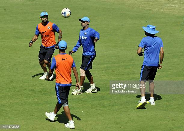 Indian vice captain Virat Kohli and other teammates during the practice session at Holkar Stadium ahead of the 2nd ODI against South Africa on...