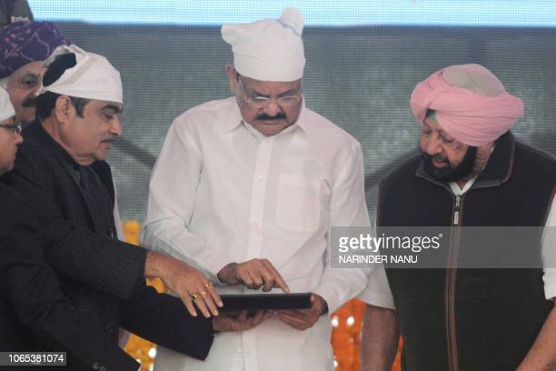 Indian Vice President M Venkaiah Naidu Punjab Chief Minister Amarinder Singh and Union minister of Road Transport and Highway Nitin Gadkari officiate...