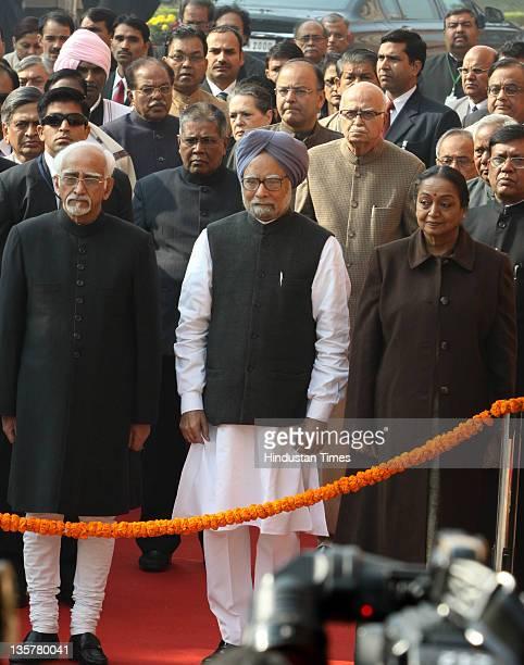 Indian Vice President Mohammad Hamid Ansari Prime Minister Manmohan Singh Lok Sabha Speaker Meera Kumar BJP Leader LK Advani and other distinguished...