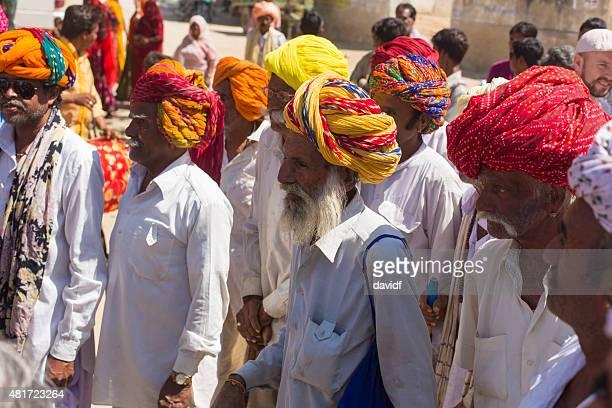 indian village men with bright turbans - only men stockfoto's en -beelden