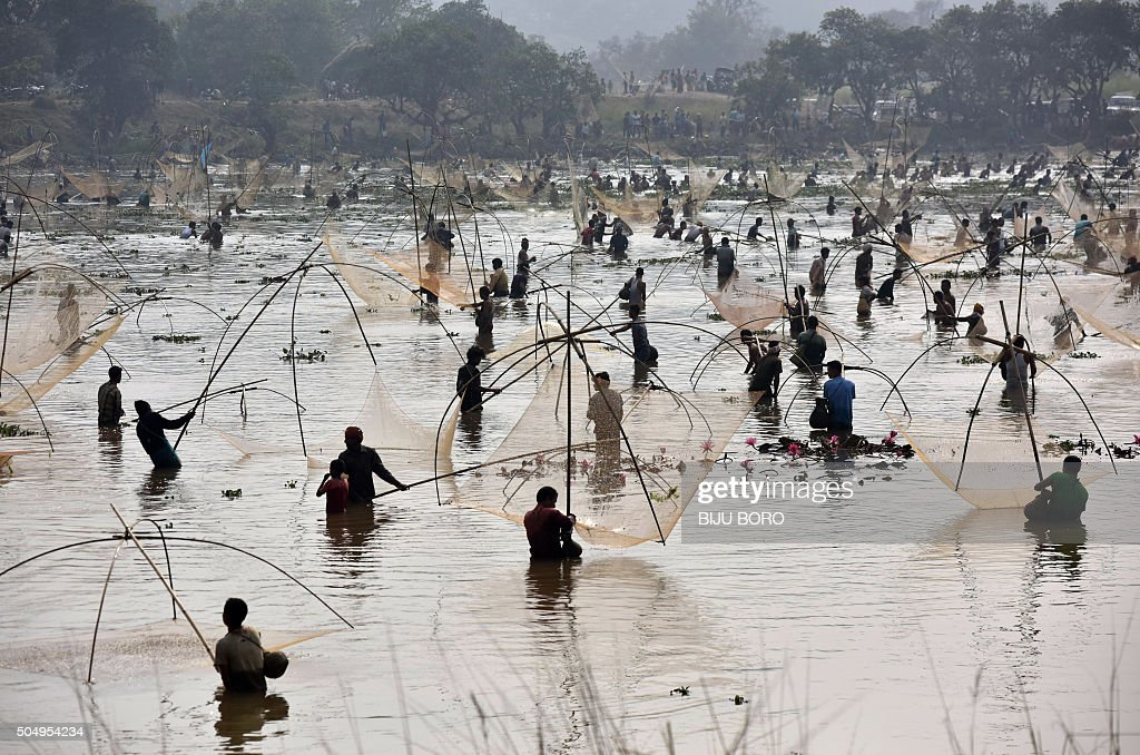 TOPSHOT - Indian villagers take part in a community fishing event during the Bhogali Bihu celebrations at Goroimari Lake in Panbari, some 50 kms from Guwahati, on January 14, 2016. Bhogali Bihu is a harvest festival celebrated in India's northeastern Assam state which starts on January 14.
