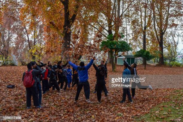 SRINAGAR JAMMU KASHMIR INDIA Indian visitors are seen enjoying during the autumn season in Srinagar Kashmir has been divided between India and...