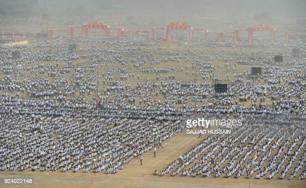 TOPSHOT Indian volunteers of the rightwing Hindu nationalist group Rashtriya Swayamsevak Sangh gather for a largescale congregation in Meerut on...