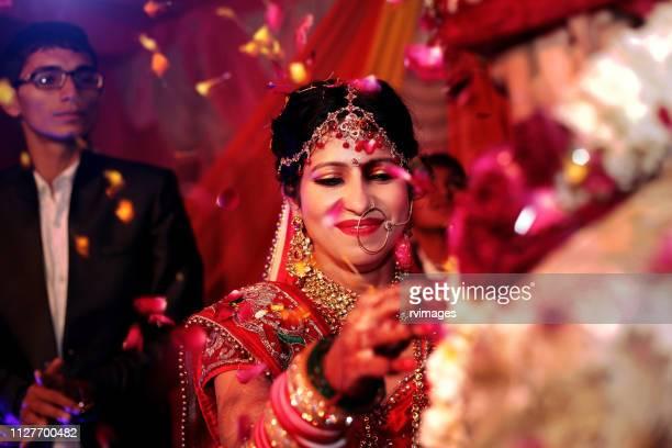 indian wedding ceremony, garland or jai mala ceremony - wedding ceremony stock pictures, royalty-free photos & images