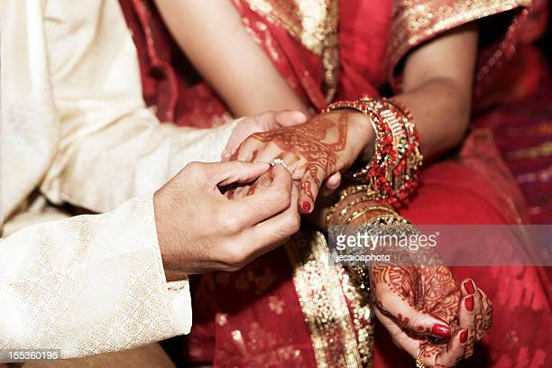 indian wedding rings - wedding ceremony stock photos and pictures